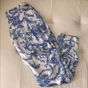 Blue and White Silk Pants
